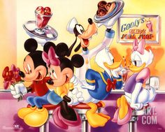 Mickey Mouse and Friends Goofy's Soda Shop Poster at Art.com