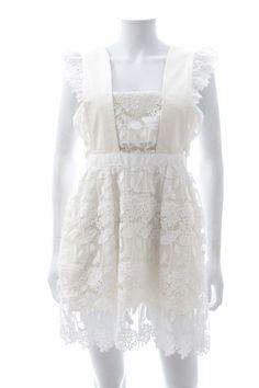 4baf93d5538732 Self-Portrait Ruffled Guipure Lace Mini Dress / White / RRP: 300.00  #fashion #clothing #shoes #accessories #womensclothing #dresses (ebay link)