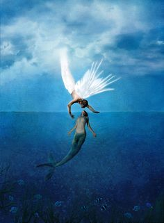 ♥ She is from the dark; but is fascinated with the light. She has a tail; but she dreams with wings. How is that a fish.... can fall in love with a bird?