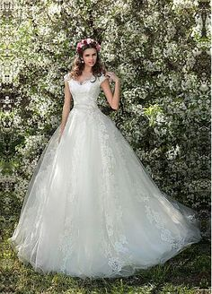 Buy Discount Glamorous Tulle Off The Shoulder Neckline Ball Gown Wedding Dress With Lace Appliques At Dressilyme