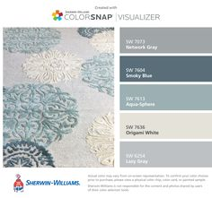 Used my living room rug, and I found these colors by Sherwin-Williams: Network Gray (SW 7073), Smoky Blue (SW 7604), Aqua-Sphere (SW 7613), Origami White (SW 7636), Lazy Gray (SW 6254).