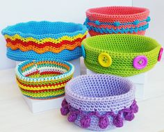 Crocheted Colorful Baskets By Karin Pichler Designs - Purchased Crochet Pattern - (ravelry)