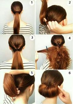 Here's chignon you kid Work Hairstyles, Pretty Hairstyles, Straight Hairstyles, Hairstyle Ideas, Hair Ideas, Curly Hair Styles, Natural Hair Styles, Step By Step Hairstyles, Pinterest Hair