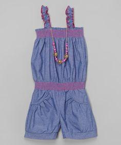 This Denim Ruffle Romper & Necklace - Girls by Maya Fashion is perfect! #zulilyfinds