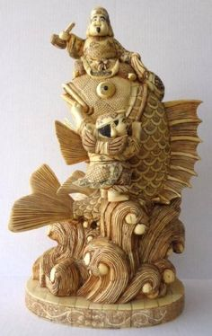 Fine Chinese Hand Carved Bone Figures Fish Statue