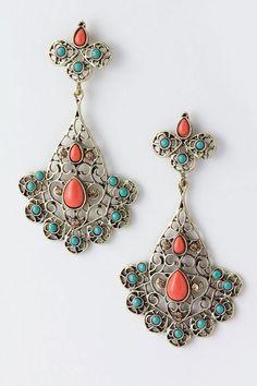 Beaded Metal Filigree Earrings