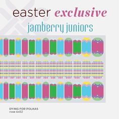 Here's a fun and colorful Easter wrap for your little one! #jamberrynails #DyingForPolkasJN #easter #jamberryjuniors #nailart #Padgram. http://cjfreeman.jamberrynails.net
