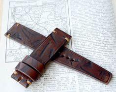 22 22 correa de reloj de cuero marrón hecho a mano Reloj De Cuero Marrón 2736fcd5f51