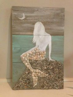 Seashell crafts For Bathroom - Hand painted Mermaid with hand collected seashells Seashell Art, Seashell Crafts, Beach Crafts, Mermaid Crafts, Mermaid Art, Mermaid Room, Mermaid Bathroom, Mermaids On Wood, Cadre Diy