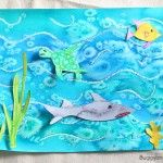 Ocean Art Project for Kids Using Watercolor and Salt