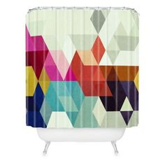 DENY Designs Three of the Possessed Modele 7 Shower Curtain in Grey - BedBathandBeyond.com