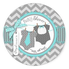 Twin Boys Tie Bow Tie Chevron Print Baby Shower Classic Round Sticker