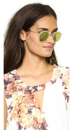 I want these so bad it's devastating. Ray-Ban Mirrored Round Foldable Icon Sunglasses