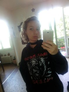 Iron maiden sweater yeah >:) Rock and metal all day