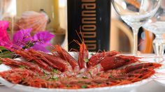 """""""Gambero Rosso di Mazara Del Vallo."""" Boiled red shrimps -- caught fresh from the Mediterranean Sea. Topped with olive oil and fresh parsley."""