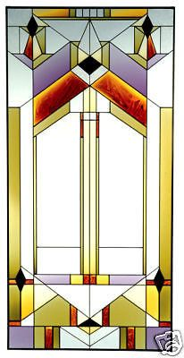 42x20 Stained Art Glass DECO-TECTURAL Window Panel Suncatcher