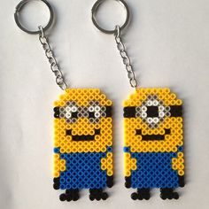 Minions keyrings hama perler beads by piafandthepuffin