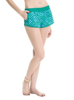 Swim+shorts+inspired+by+Ariel's+fin+with+an+embroidered+Ariel+silhouette+detail.+Elastic+waistband.