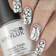 Sunday Stamping - Art Nouveau ~ base polish CND Vinyux 'Cream Puff' stamped using MdU black with images from Born Pretty Store plates, BP-17 and  Pueen SE04B ~ by Copycat Claws