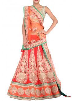 Red lehenga enhanced in zari embroidery only on Kalki