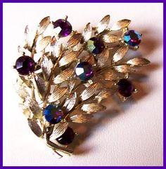 Vintage LISNER Brooch Pin Purple AB Rhinestones Floral Spray Layered Gold Metal 2 1/4 VG via Etsy