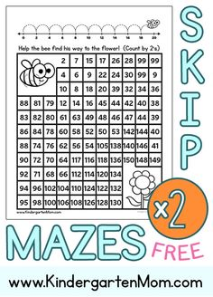 Free Skip Counting Mazes for children learning to count by 2's.  Help the bee find the flower by leading him through the maze. http://kindergartenmom.com/kindergarten-math-printables/