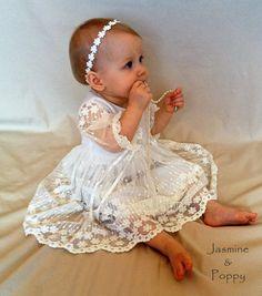 Baby girl christening dress, christening gown, baptism dress, flower girl dress…