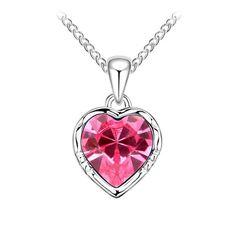 Rózsaszín szívem kristály nyaklánc I Swarovski Elements I Feminashop.hu