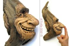 "My latest woodcarving measures 12""x6½"", titled - ""Crazy Happy"" By Nancy Tuttle FB  Very talented woodcarver."