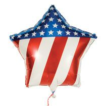 Patriotic star foil balloon proudly displays the grand ol' red, white, and blue stars and stripes! Add to a flower arrangement, basket or gift. or create a giant bouquet of patriotic pride. Patriotic Party, 4th Of July Party, Patriotic Decorations, Fourth Of July, Heart Balloons, Foil Balloons, Latex Balloons, Birthday Supplies, Kids Party Supplies