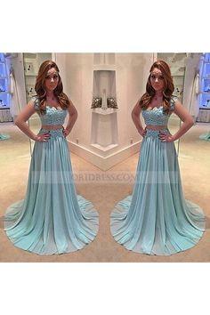 Two Piece Square Neck Chiffon Sweep Train Sleeveless Blue A Line Prom Evening Dress Os0918