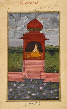 Kamodani Ragini, Page from a Dispersed Ragamala Series, circa 1800 Calligraphy Borders, Indian Traditional Paintings, India Painting, Islamic Art, Indian Art, Art World, Fascinator, Miniature Paintings, Wall Murals