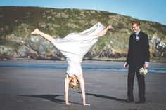 The sheer joy of a Rosevine beach wedding - taken by one of our fave photographers Alan Law. www.rosevineweddings.co.uk