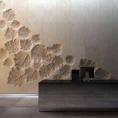 Huellas de hojas en pared de concreto - Imprint leaves in concrete wall