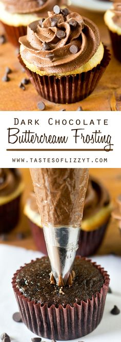 DARK CHOCOLATE BUTTERCREAM FROSTING on MyRecipeMagic.com. Rich, chocolatey, sweet, and smooth, this Dark Chocolate Buttercream Frosting is sure to please any chocolate lover!