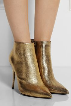 Alexander McQueen|Metallic cracked-leather ankle boots|NET-A-PORTER.COM