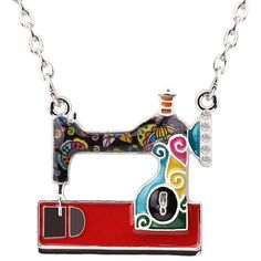 Bonsny Statement Enamel Alloy Sewing Machine Necklaces Pendants Choker Chain Collar Fashion Jewelry For Women Girl Accessories Cheap Fashion Jewelry, Women Jewelry, Charm Jewelry, Jewelry Gifts, Necklace Charm, Pendant Necklace, Handmade Jewelry, Girls Accessories, Jewelry Accessories