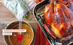 Turkey, turkey, turkey! Love a Thanksgiving main course with a twist, and this Orange Rosemary Glaze recipe totally brightens up Thanksgiving dinner. Plus it's only 5 ingredients, so it's really easy to make.