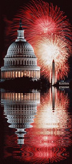 United States Capitol fireworks and the reflecting pool