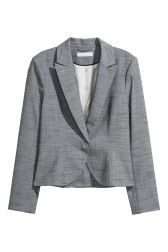 Fitted blazer in woven fabric with notched lapels. One button at front. Lined. Lady Grey, H&m Online, Office Outfits, Gray Jacket, Fashion Company, Woven Fabric, Fashion Online, Style Me, Personal Style