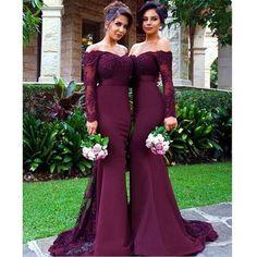 Long Sleeve Burgundy Bridesmaid Dresses, Mermaid Long Lace Bridesmaid Dress…