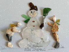 """The Snowman"" pebble art by Hara"