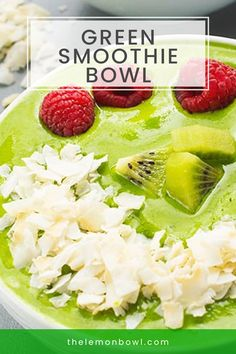 This thick and creamy green smoothie bowl is the ideal vessel for your favorite toppings such as chia seeds, flaked coconut and fresh berries. Easy Smoothies, Smoothie Recipes, Lemon Bowl, Smoothie Bowl, Kitchen Recipes, Chia Seeds, Potato Salad, Berries, Coconut
