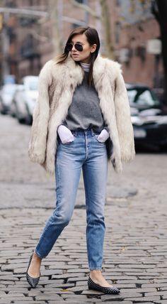 Danielle Bernstein is wearing a vintage fuzzy faux fur coat