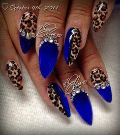30 DARK BLUE NAIL ART DESIGNS - nenuno c. - Feisty looking dark blue nail art design. The blues are also designed with animal prints in brown h - Cheetah Nail Designs, Leopard Print Nails, Nail Art Designs, Nails Design, Leopard Prints, Blue Nails With Design, Wild Nail Designs, Leopard Nail Art, Design Art