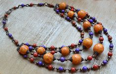 Layered necklace Boho necklace Orange necklace Multistrand