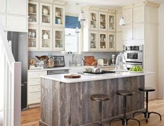 Entrancing Refurbished Wood Kitchen Island with White Granite Countertops also Beadboard Kitchen Cabinets and Clear Glass Kitchen Cabinet Doors from Kitchen Island Plans