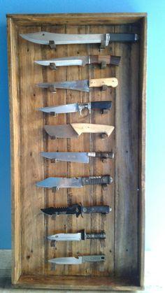 A Hidden Cabinet of Knives Knife Display Case, Hidden Cabinet, Knife Stand, Knife Storage, Gun Rooms, Case Knives, Knife Holder, Knife Sheath, Lame