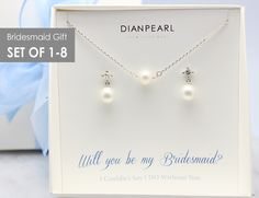 Pearl Silver Jewelry Set, Bridesmaid gift