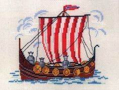 Viking Ship kit (cross stitch): My current work in progress! A very fun project.